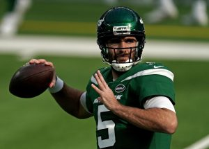 Dec 20, 2020; Inglewood, California, USA; New York Jets quarterback Joe Flacco (5) warms up before a game against the Los Angeles Rams at SoFi Stadium. Mandatory Credit: Kirby Lee-USA TODAY Sports