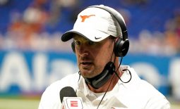 Dec 29, 2020; San Antonio, TX, USA; Texas Longhorns head coach Tom Herman is being interviewed during the first half against the Colorado Buffaloes at Alamodome. Mandatory Credit: Kirby Lee-USA TODAY Sports
