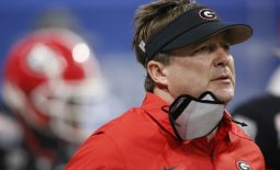 Jan 1, 2021; Atlanta, GA, USA; Georgia coach Kirby Smart takes the field before the start of the Peach Bowl NCAA college football game between Georgia and Cincinnati at Mercedes-Benz Stadium in Atlanta., on Friday, Jan. 1, 2021. Mandatory Credit: Joshua L. Jones-USA TODAY NETWORK