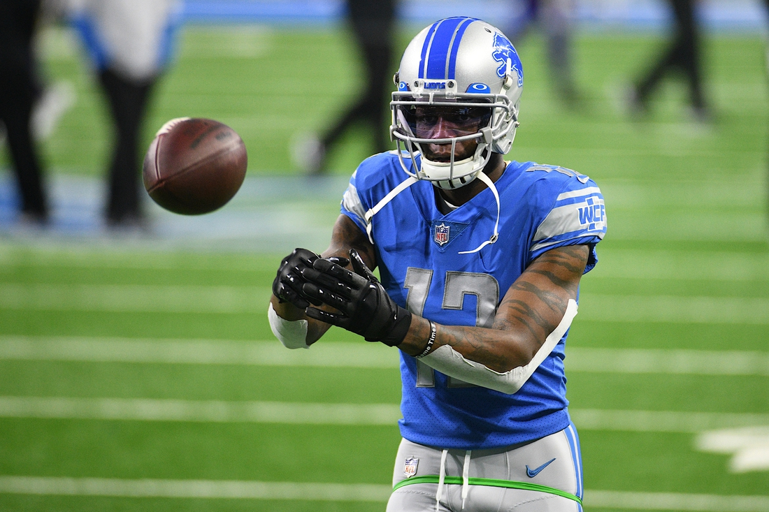 Jan 3, 2021; Detroit, Michigan, USA; Detroit Lions wide receiver Mohamed Sanu warms up before the game against the Minnesota Vikings at Ford Field. Mandatory Credit: Tim Fuller-USA TODAY Sports