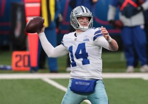 Jan 3, 2021; East Rutherford, NJ, USA; Dallas Cowboys quarterback Andy Dalton (14) throws a pass against the New York Giants in the first half at MetLife Stadium. Mandatory Credit: Vincent Carchietta-USA TODAY Sports