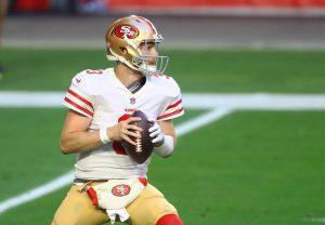 Jan 3, 2021; Glendale, Arizona, USA; San Francisco 49ers quarterback C.J. Beathard (3) against the Seattle Seahawks at State Farm Stadium. Mandatory Credit: Mark J. Rebilas-USA TODAY Sports