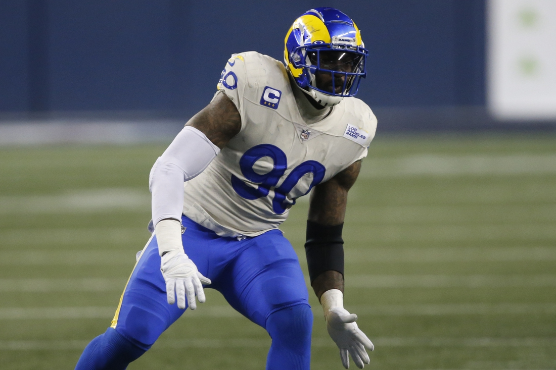Jan 9, 2021; Seattle, Washington, USA; Los Angeles Rams defensive tackle Michael Brockers (90) in action against the Seattle Seahawks during the fourth quarter at Lumen Field. Mandatory Credit: Joe Nicholson-USA TODAY Sports