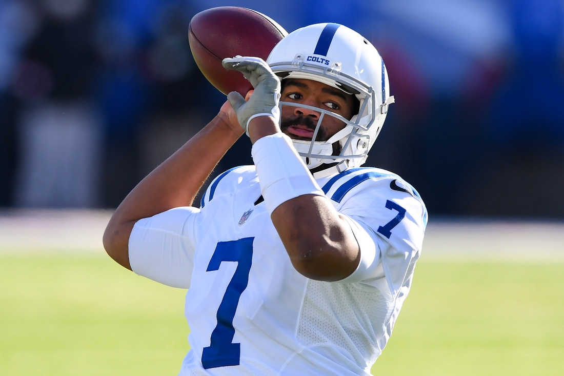 Jan 9, 2021; Orchard Park, New York, USA; Indianapolis Colts quarterback Jacoby Brissett (7) warms up prior to a AFC Wild Card game against the Buffalo Bills at Bills Stadium. Mandatory Credit: Rich Barnes-USA TODAY Sports