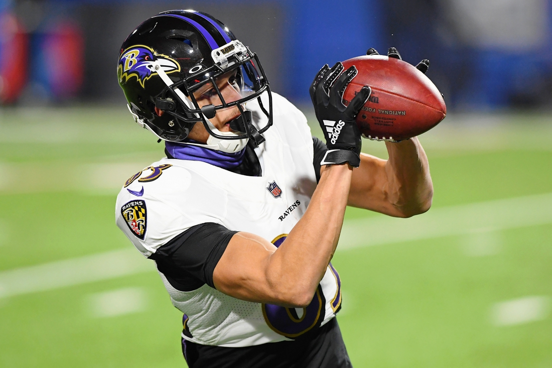 Jan 16, 2021; Orchard Park, New York, USA; Baltimore Ravens wide receiver Willie Snead (83) makes a catch during warm ups before an AFC Divisional Round playoff game against the Buffalo Bills at Bills Stadium. Mandatory Credit: Rich Barnes-USA TODAY Sports