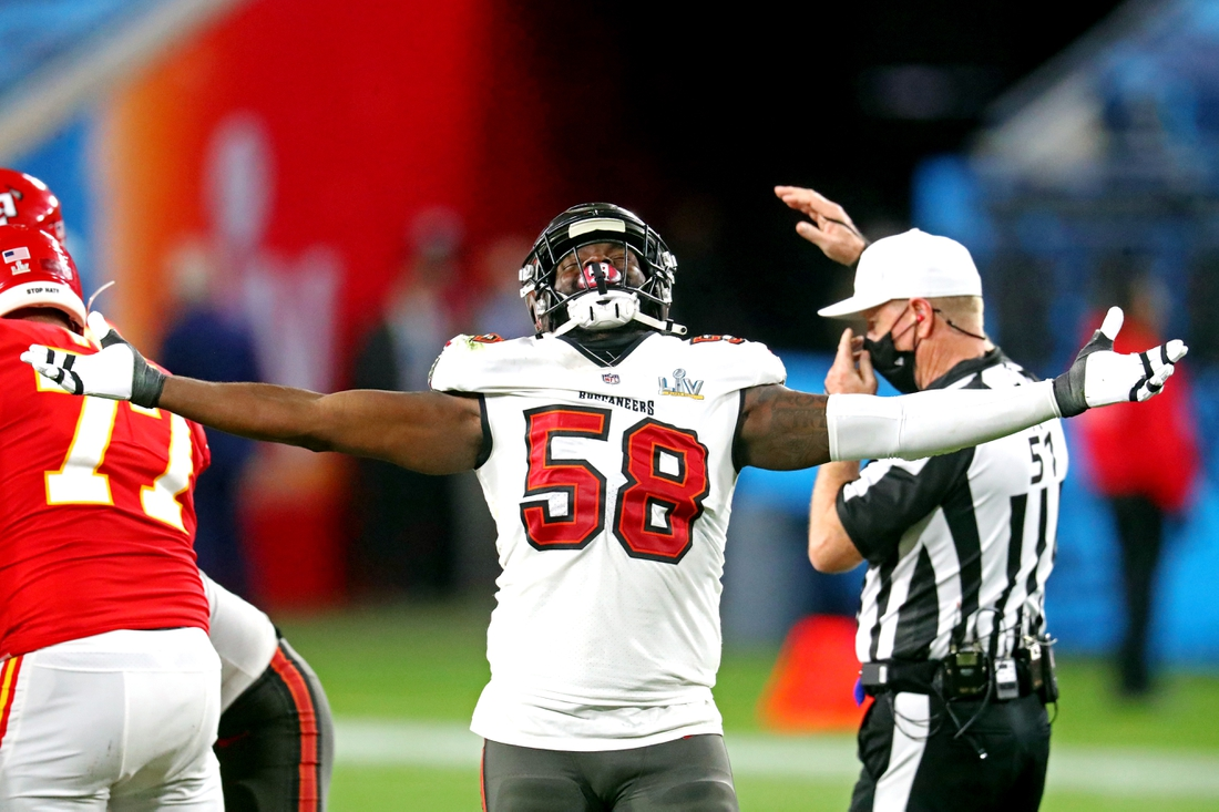 Feb 7, 2021; Tampa, FL, USA;  Tampa Bay Buccaneers outside linebacker Shaquil Barrett (58) reacts during the fourth quarter against the Kansas City Chiefs in Super Bowl LV at Raymond James Stadium.  Mandatory Credit: Mark J. Rebilas-USA TODAY Sports