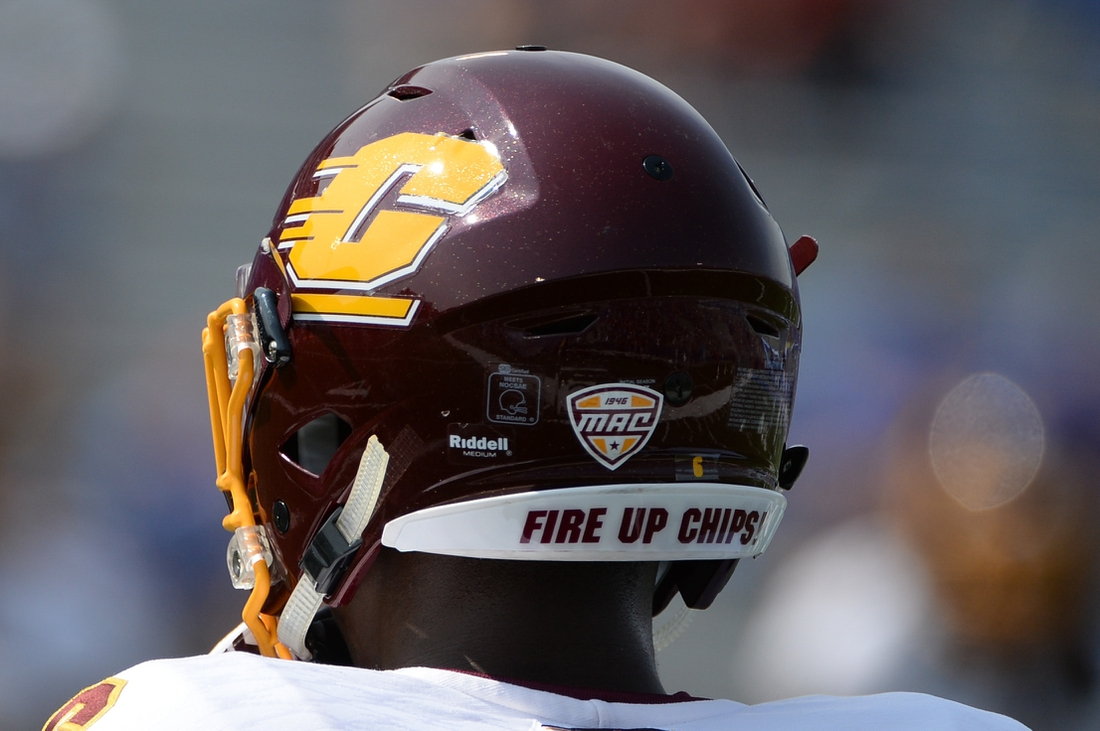 Sep 9, 2017; Lawrence, KS, USA; General view of the Central Michigan Chippewas helmet before the game against the Kansas Jayhawks at Memorial Stadium. Mandatory Credit: Steven Branscombe-USA TODAY Sports