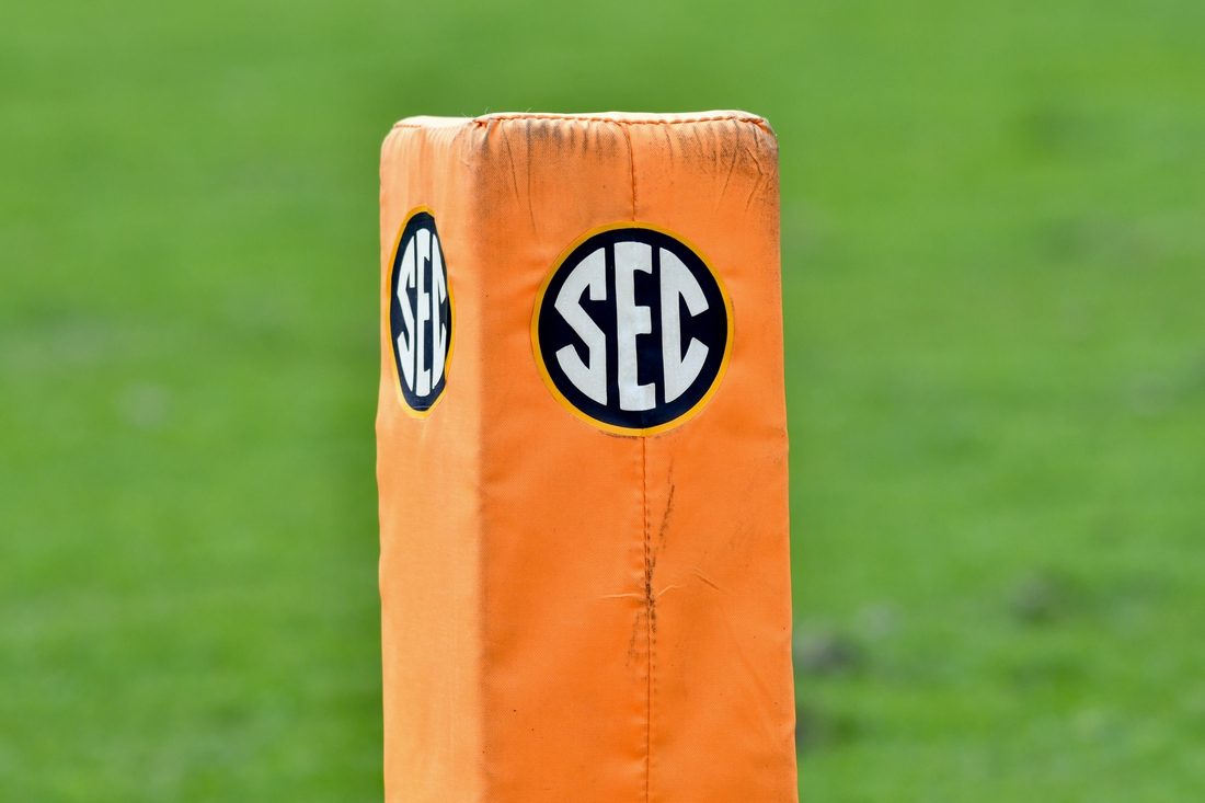 Oct 14, 2017; Knoxville, TN, USA; General view of the SEC logo during the second quarter of the game between the Tennessee Volunteers and South Carolina Gamecocks at Neyland Stadium. Mandatory Credit: Randy Sartin-USA TODAY Sports