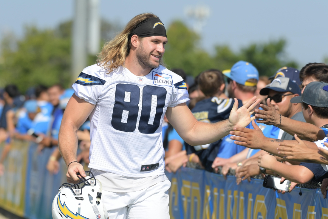 Jul 29, 2018; Costa Mesa, CA, USA; Los Angeles Chargers tight end Sean Culkin (80) is greeted by fans during training camp at Jack R. Hammett Sports Complex. Mandatory Credit: Kirby Lee-USA TODAY Sports