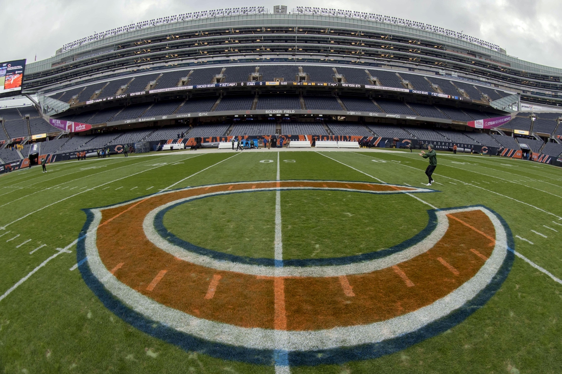 Oct 28, 2018; Chicago, IL, USA; The Chicago Bears logo is seen prior to a game against the New York Jets at Soldier Field. Mandatory Credit: Patrick Gorski-USA TODAY Sports