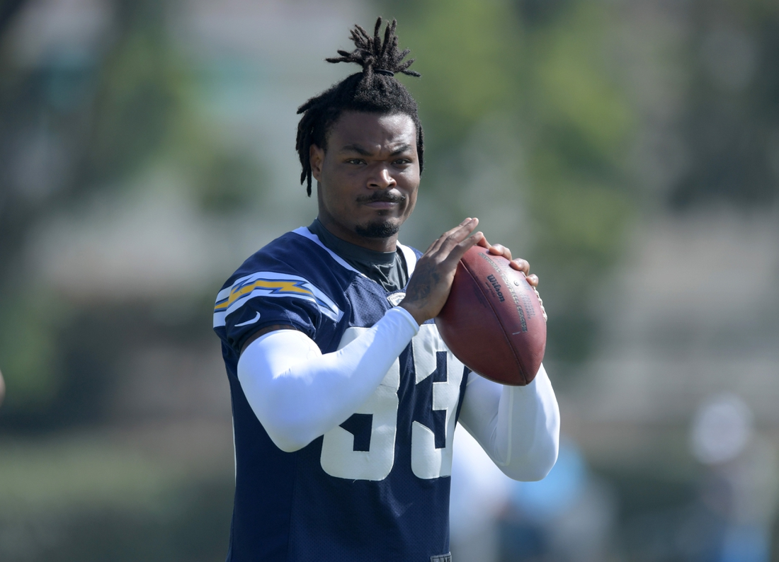 Aug 14, 2019; Costa Mesa, CA, USA: Los Angeles Chargers safety Derwin James (33) during training camp at the Jack Hammett Sports Complex. Mandatory Credit: Kirby Lee-USA TODAY Sports
