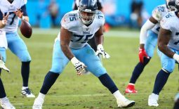 Nov 3, 2019; Charlotte, NC, USA; Tennessee Titans offensive guard Jamil Douglas (75) lines up during the game against the Carolina Panthers at Bank of America Stadium. Mandatory Credit: Jeremy Brevard-USA TODAY Sports
