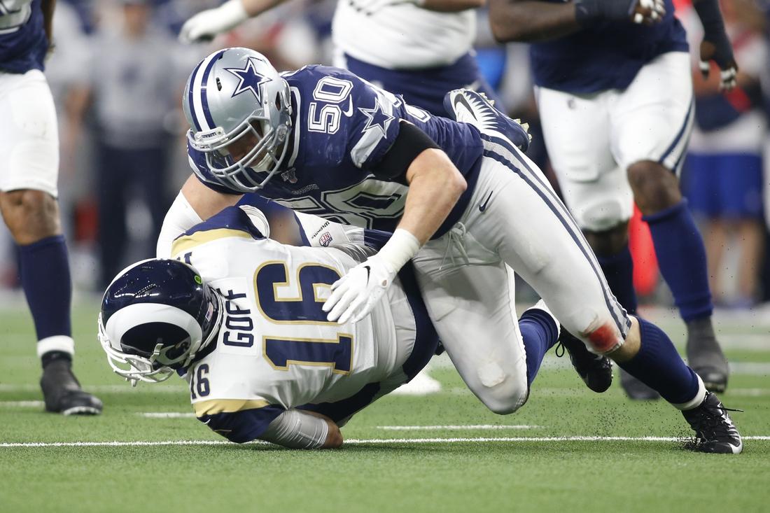 Dec 15, 2019; Arlington, TX, USA; Dallas Cowboys outside linebacker Sean Lee (50) sacks Los Angeles Rams quarterback Jared Goff (16) in the third quarter at AT&T Stadium. Mandatory Credit: Tim Heitman-USA TODAY Sports