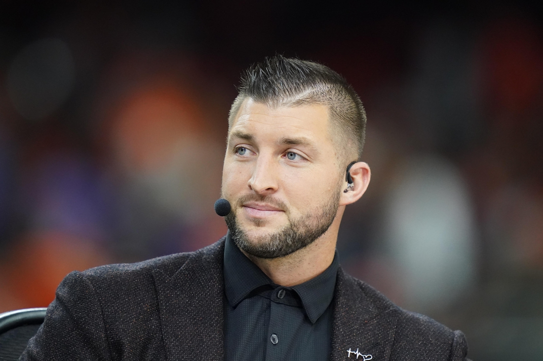 Jan 13, 2020; New Orleans, Louisiana, USA; Tim Tebow before the College Football Playoff national championship game between the Clemson Tigers and the LSU Tigers at Mercedes-Benz Superdome. Mandatory Credit: Kirby Lee-USA TODAY Sports