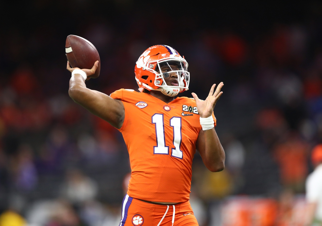 Jan 13, 2020; New Orleans, Louisiana, USA; Clemson Tigers quarterback Taisun Phommachanh (11) in the College Football Playoff national championship game at Mercedes-Benz Superdome. Mandatory Credit: Mark J. Rebilas-USA TODAY Sports
