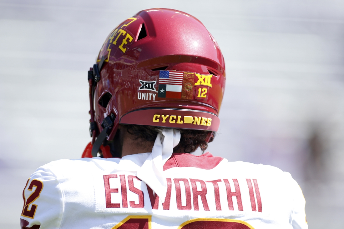 Sep 26, 2020; Fort Worth, Texas, USA; Iowa State Cyclones defensive back Greg Eisworth II (12) helmet with unity logo displayed before the game against the TCU Horned Frogs at Amon G. Carter Stadium. Mandatory Credit: Tim Heitman-USA TODAY Sports