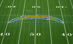 Nov 8, 2020; Inglewood, California, USA; A general view of the Los Angeles Chargers bolt logo at midfield at SoFi Stadium. Mandatory Credit: Kirby Lee-USA TODAY Sports