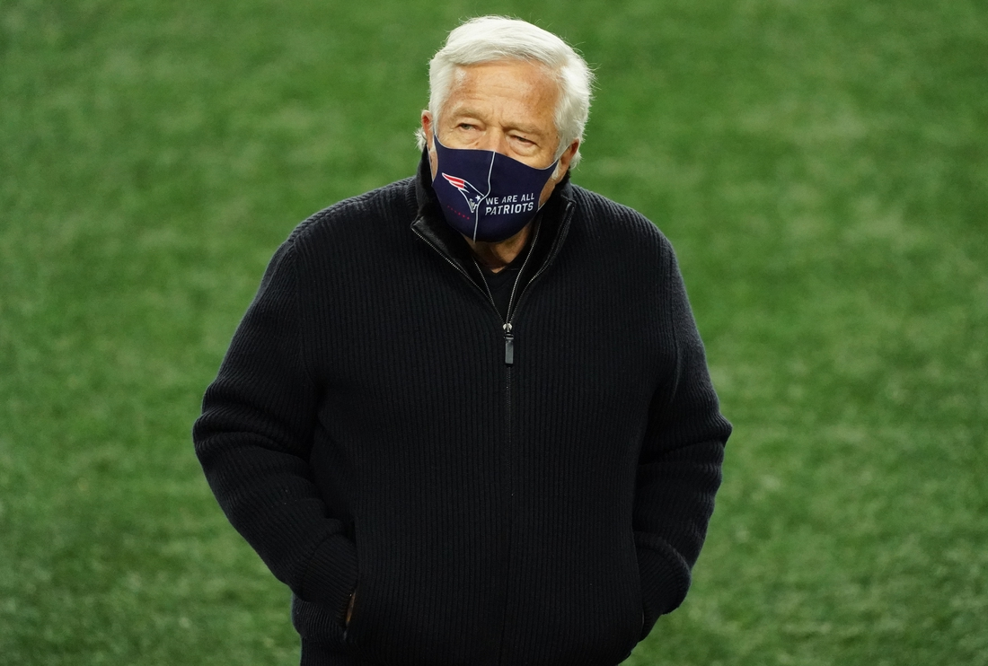 Dec 28, 2020; Foxborough, Massachusetts, USA; New England Patriots owner Robert Kraft  on the field as his team warms up before the start of the game against the Buffalo Bills at Gillette Stadium. Mandatory Credit: David Butler II-USA TODAY Sports