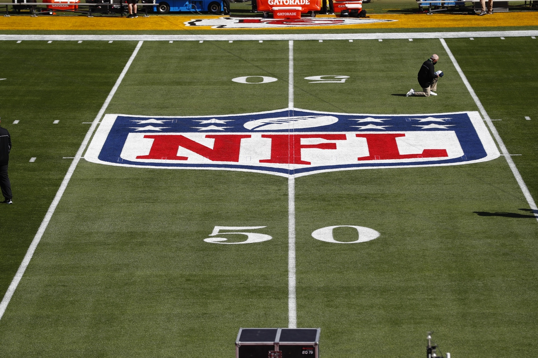 Feb 7, 2020; Tampa, FL, USA;  General view of the NFL Shield logo on the field before Super Bowl LV between the Tampa Bay Buccaneers and the Kansas City Chiefs at Raymond James Stadium.  Mandatory Credit: Kim Klement-USA TODAY Sports
