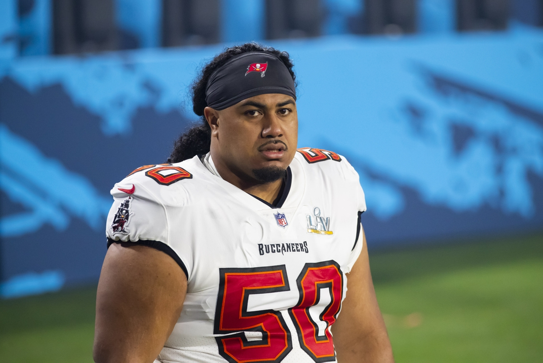 Feb 4, 2021; Tampa, FL, USA;  Tampa Bay Buccaneers defensive tackle Vita Vea (50) against the Kansas City Chiefs in Super Bowl LV at Raymond James Stadium.  Mandatory Credit: Mark J. Rebilas-USA TODAY Sports