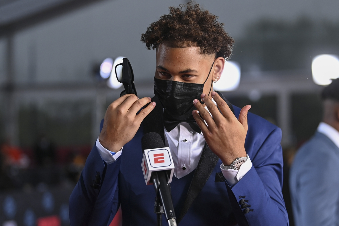 Apr 29, 2021; Cleveland, OH, USA; North Dakota State quarterback Trey Lance appears on the Red Carpet  at the Rock & Roll Hall of Fame before the first round of the 2021 NFL football draft, Thursday, April 29, 2021, in Cleveland.  Mandatory Credit: David Dermer/Pool Photo-USA TODAY Sports