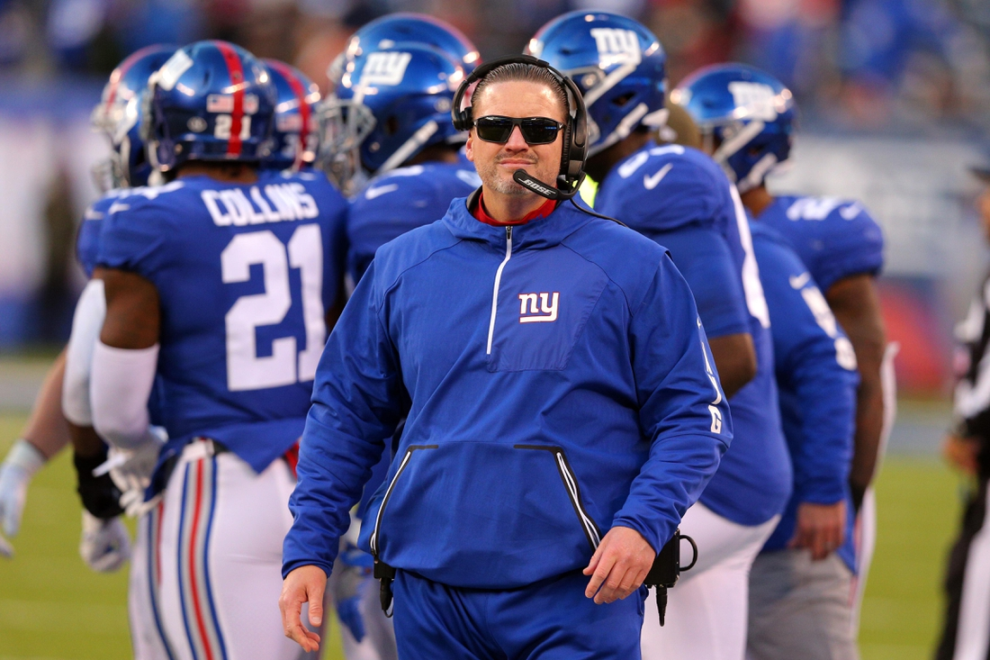 Nov 19, 2017; East Rutherford, NJ, USA; New York Giants head coach Ben McAdoo before the start of overtime against the Kansas City Chiefs at MetLife Stadium. Mandatory Credit: Brad Penner-USA TODAY Sports