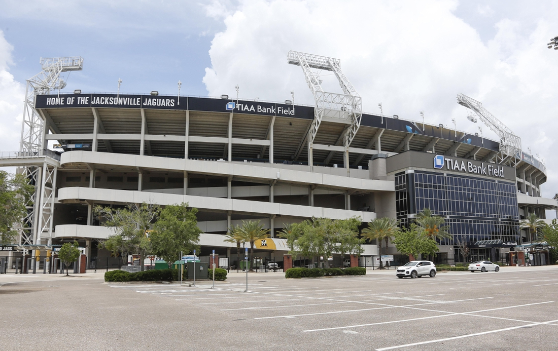May 22, 2018; Jacksonville, FL, USA; A view outside showing the new logo during organized team activities at TIAA Bank Field. Mandatory Credit: Reinhold Matay-USA TODAY Sports