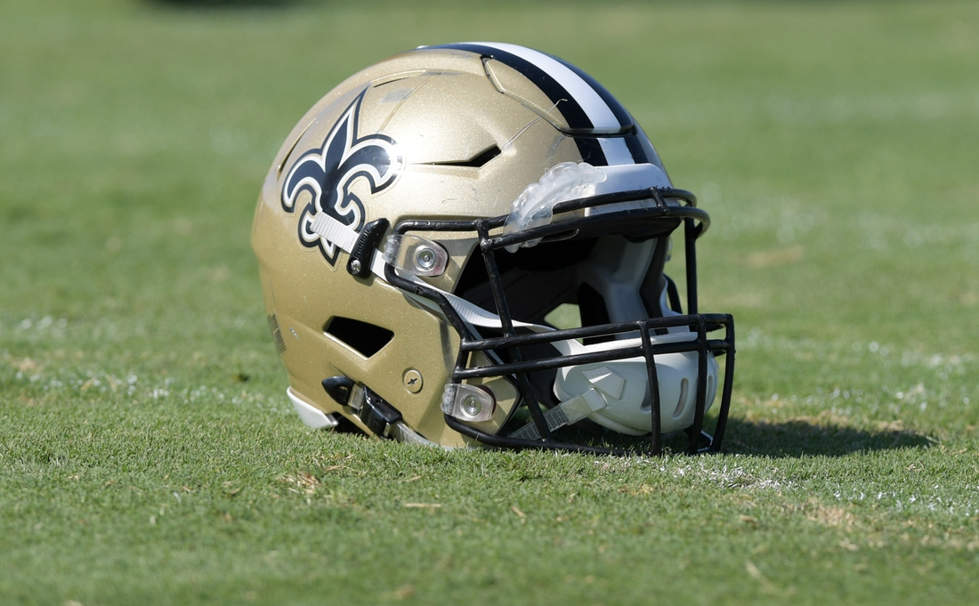 Aug 23, 2018; Costa Mesa, CA, USA: Detailed view of New Orleans Saints helmets during joint practice against the Los Angeles Chargers at the Jack. R. Hammett Sports Complex. Mandatory Credit: Kirby Lee-USA TODAY Sports