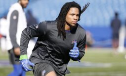 Nov 4, 2018; Orchard Park, NY, USA; Buffalo Bills wide receiver Kelvin Benjamin (13) on the field before a game against the Chicago Bears at New Era Field. Mandatory Credit: Timothy T. Ludwig-USA TODAY Sports