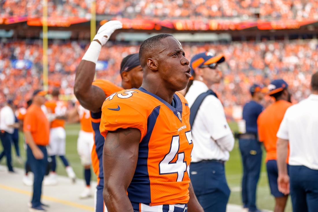 Sep 16, 2018; Denver, CO, USA; Denver Broncos linebacker Joseph Jones (43) in the fourth quarter against the Oakland Raiders at Broncos Stadium at Mile High. Mandatory Credit: Isaiah J. Downing-USA TODAY Sports