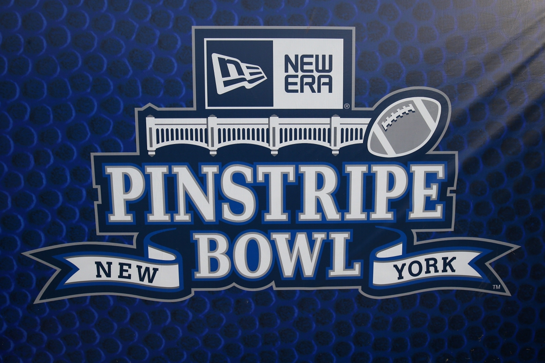 Dec 27, 2018; Bronx, NY, USA; General view of the 2018 Pinstripe Bowl logo prior to the game between the Miami Hurricanes and the Wisconsin Badgers at Yankee Stadium. Mandatory Credit: Rich Barnes-USA TODAY Sports