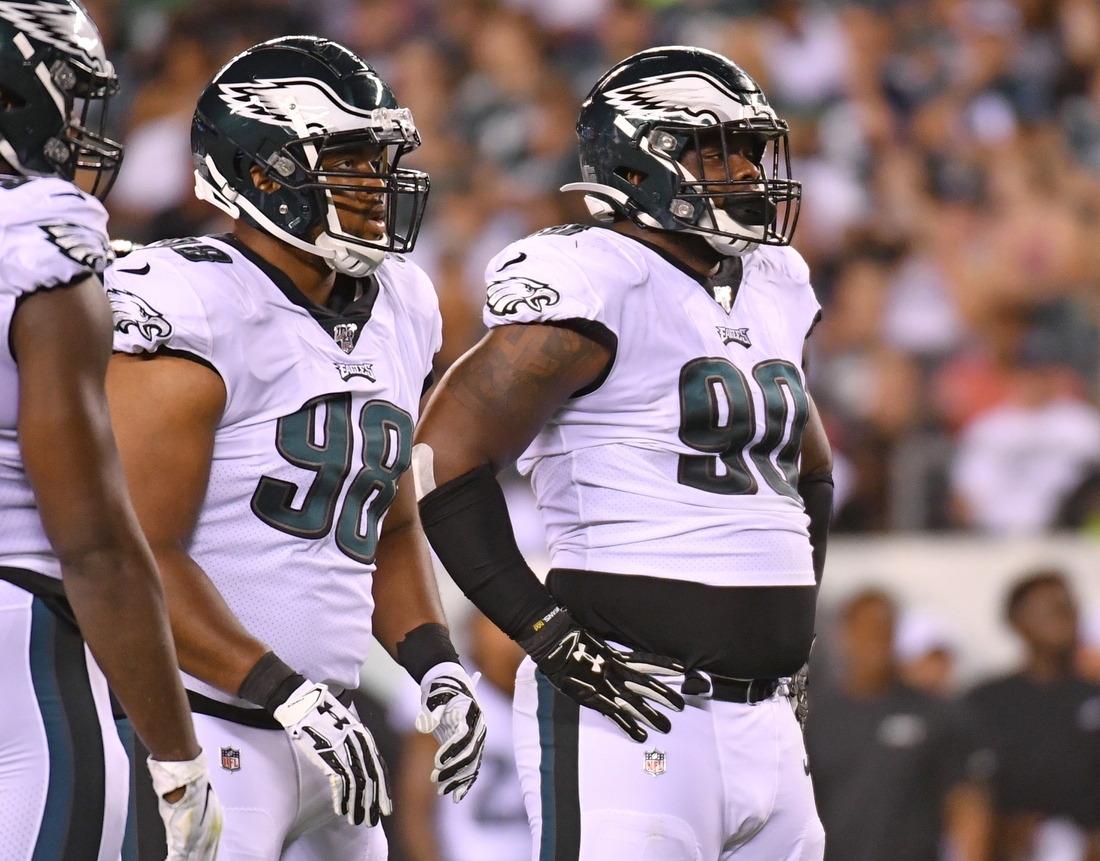 Aug 8, 2019; Philadelphia, PA, USA; Philadelphia Eagles defensive tackle Bruce Hector (98) and defensive tackle Treyvon Hester (90) against the Tennessee Titans at Lincoln Financial Field. Mandatory Credit: Eric Hartline-USA TODAY Sports