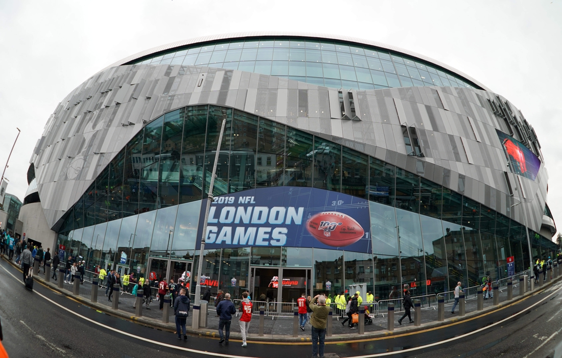 Oct 13, 2019; London, United Kingdom; General overall view of the Tottenham Hotpsur Stadium exterior before an NFL International Series game between the Carolina Panthers and the Tampa Bay Buccaneers. Mandatory Credit: Kirby Lee-USA TODAY Sports