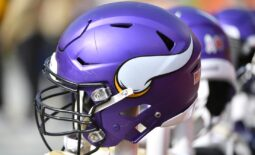 Nov 3, 2019; Kansas City, MO, USA; A general view of a Minnesota Vikings helmet during the game against the Kansas City Chiefs at Arrowhead Stadium. Mandatory Credit: Denny Medley-USA TODAY Sports
