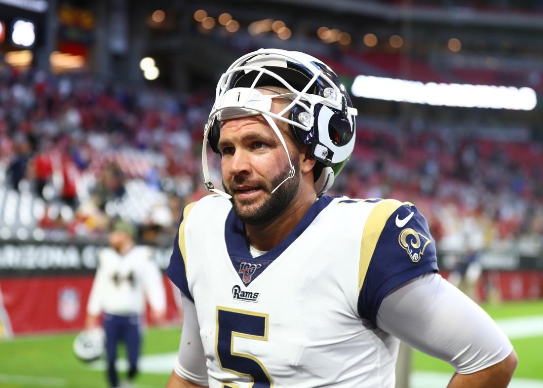 Dec 1, 2019; Glendale, AZ, USA; Los Angeles Rams quarterback Blake Bortles (5) against the Arizona Cardinals at State Farm Stadium. Mandatory Credit: Mark J. Rebilas-USA TODAY Sports