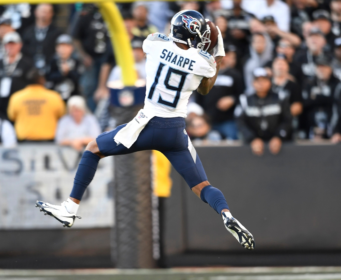 Tennessee Titans wide receiver Tajae Sharpe (19) pulls in a first-down catch during the third quarter at Oakland-Alameda County Coliseum Sunday, Dec. 8, 2019 in Oakland, Ca.  Gw58185
