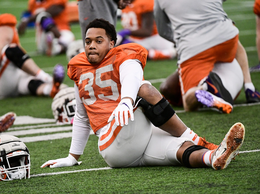 Clemson linebacker Justin Foster (35) stretches during practice in Tempe, Arizona Tuesday, December 24.  Clemson Vs Ohio State Fiesta Bowl Practice