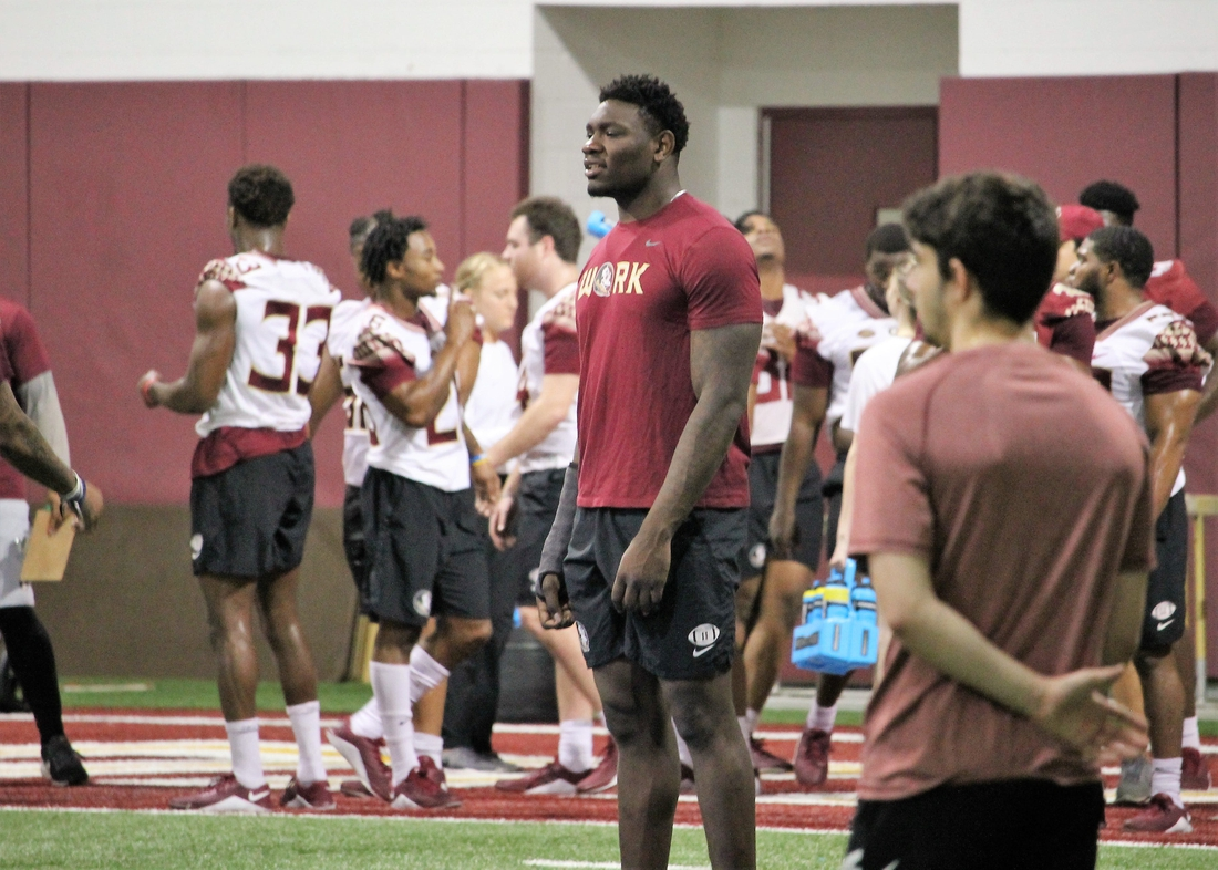 FSU defensive end Janarius Robinson at a Tour of Duty conditioning workout on Feb. 13, 2020.  Img 4827