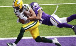 Sep 13, 2020; Minneapolis, MN, USA; Green Bay Packers wide receiver Allen Lazard (13) scores a touchdown against Minnesota Vikings cornerback Mike Hughes (21) in the fourth quarter during their football game Sunday, September 13, 2020, at U.S. Bank Stadium in Minneapolis, Minn. Green Bay won 43-34.  Mandatory Credit: Dan Powers/Appleton Post-Crescsent-USA TODAY NETWORK