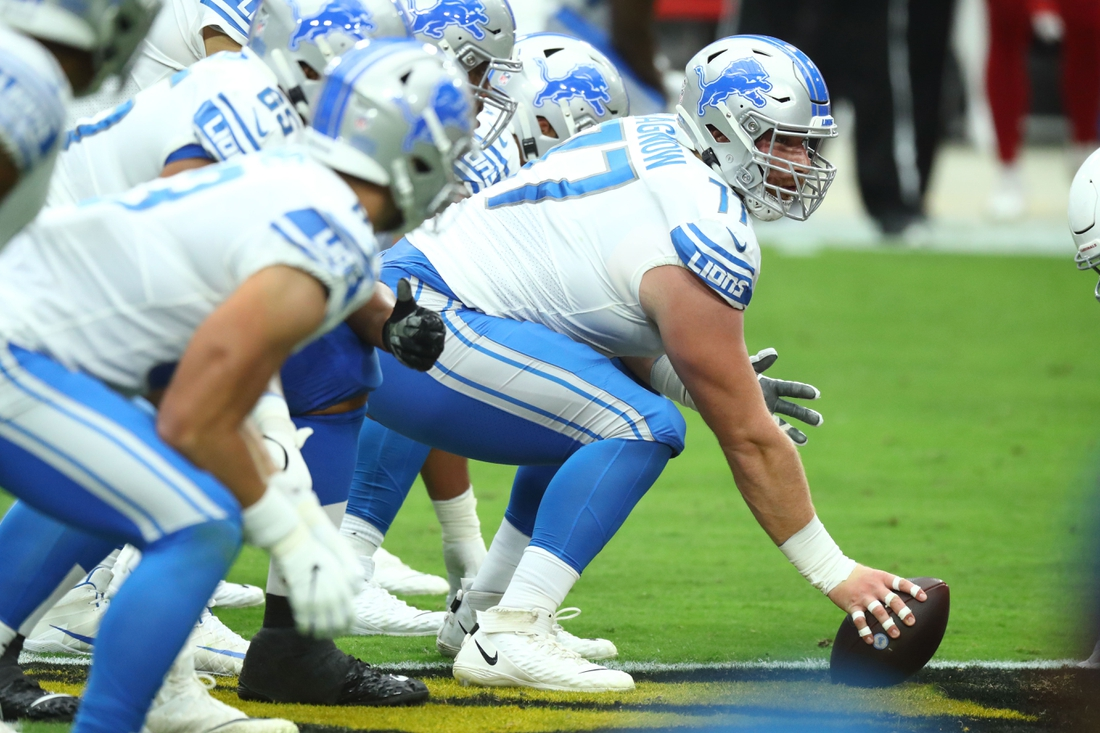 Sep 27, 2020; Glendale, Arizona, USA; Detroit Lions center Frank Ragnow (77) against the Arizona Cardinals in the first quarter at State Farm Stadium. Mandatory Credit: Billy Hardiman-USA TODAY Sports
