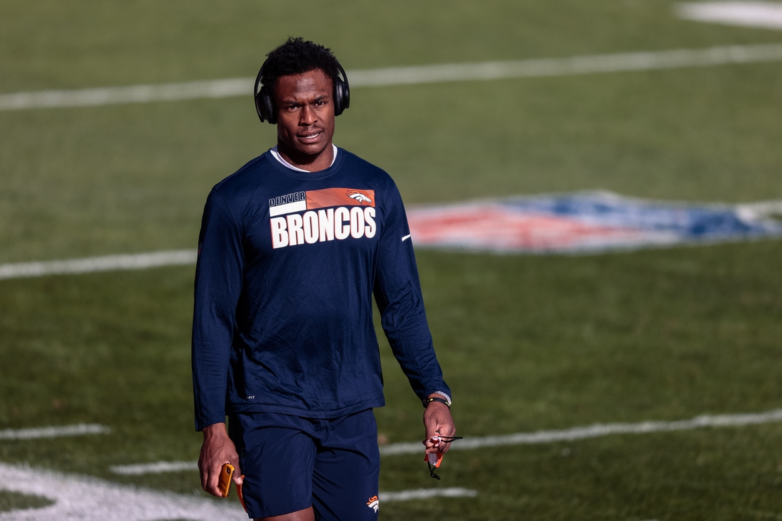Nov 22, 2020; Denver, Colorado, USA; Denver Broncos wide receiver DaeSean Hamilton (17) before the game against the Miami Dolphins at Empower Field at Mile High. Mandatory Credit: Isaiah J. Downing-USA TODAY Sports