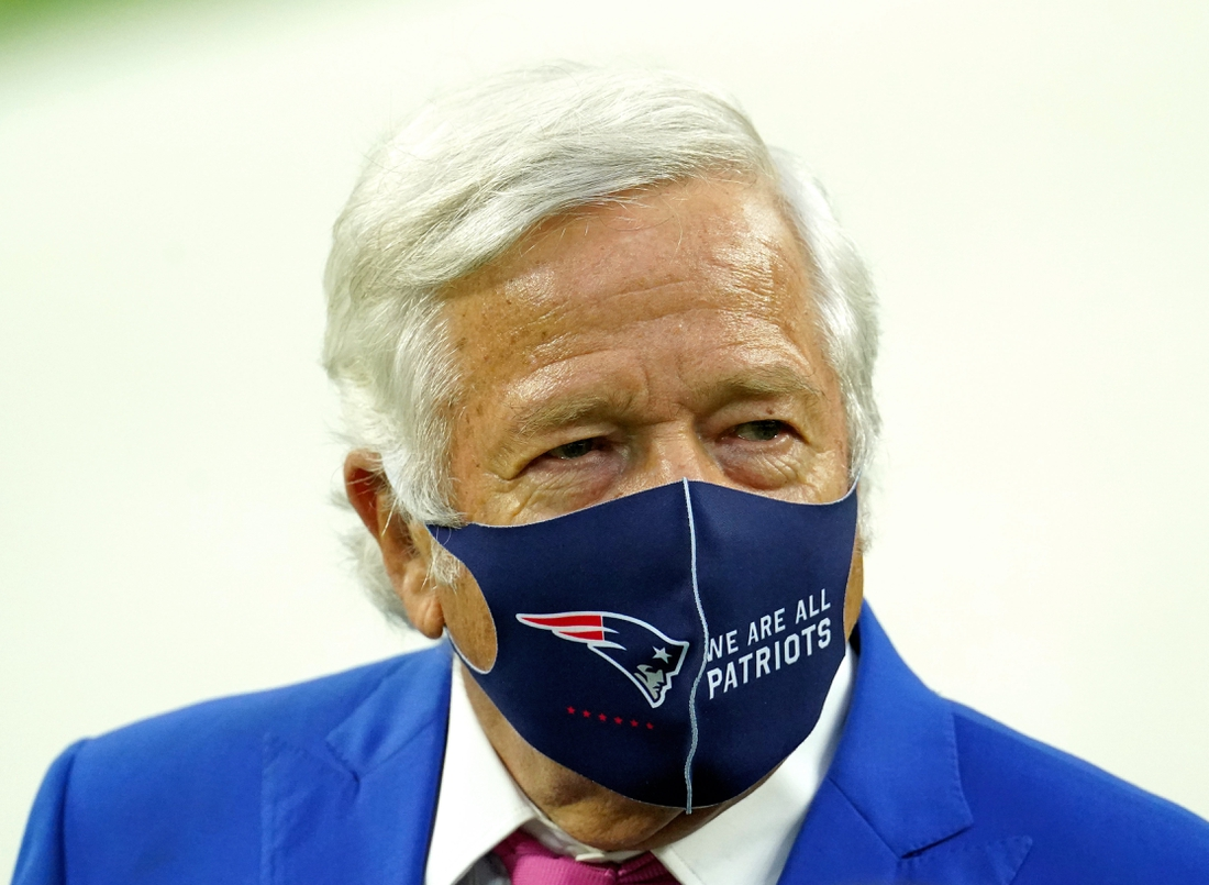 Dec 10, 2020; Inglewood, California, USA; New England Patriots owner Robert Kraft is seen prior to a game against the Los Angeles Rams at SoFi Stadium. Mandatory Credit: Kirby Lee-USA TODAY Sports