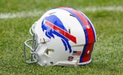 Dec 19, 2020; Denver, Colorado, USA; A general view of the  Buffalo Bills helmet before game against the Denver Broncos at Empower Field at Mile High. Mandatory Credit: Troy Babbitt-USA TODAY Sports