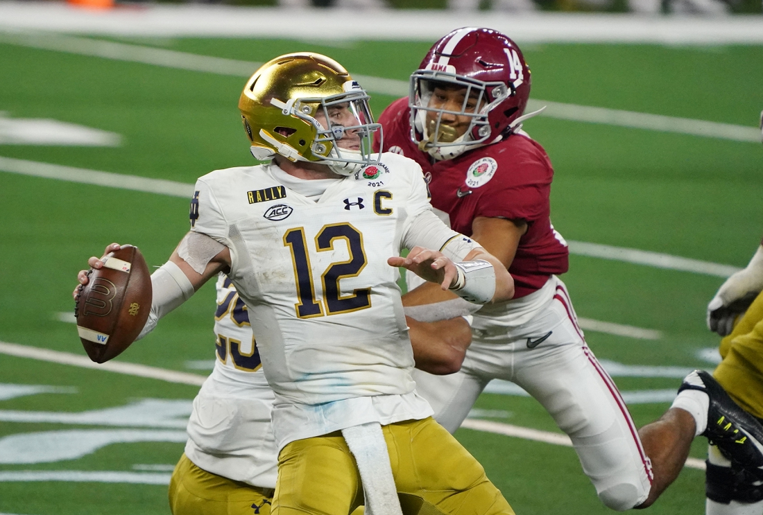 Jan 1, 2021; Arlington, TX, USA; Notre Dame Fighting Irish quarterback Ian Book (12) throws against the Alabama Crimson Tide in the fourth quarter during the Rose Bowl at AT&T Stadium. Mandatory Credit: Kirby Lee-USA TODAY Sports