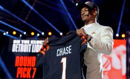 Apr 29, 2021; Cleveland, Ohio, USA; Ja'Marr Chase (LSU) poses with a jersey after being selected by Cincinnati Bengals as the number five overall pick in the first round of the 2021 NFL Draft at First Energy Stadium. Mandatory Credit: Kirby Lee-USA TODAY Sports