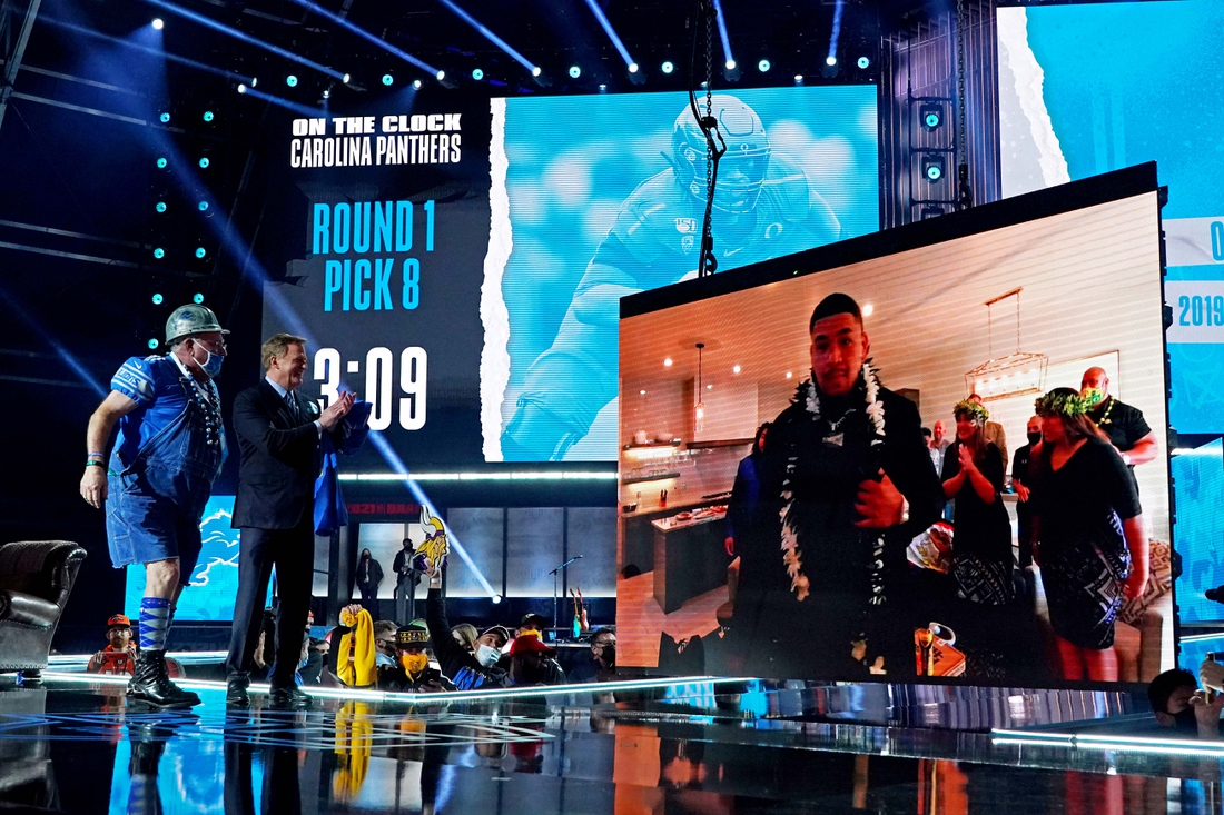 Apr 29, 2021; Cleveland, Ohio, USA; Penei Sewell (Oregon) with NFL commissioner Roger Goodell over video call after being selected by Detroit Lions as the number seven overall pick in the first round of the 2021 NFL Draft at First Energy Stadium. Mandatory Credit: Kirby Lee-USA TODAY Sports