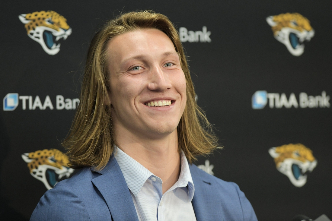 Jaguars No. 1 draft pick Trevor Lawrence appears at Friday afternoon's press conference at TIAA Bank Field.Jki 043021 Trevorlawrencea 7
