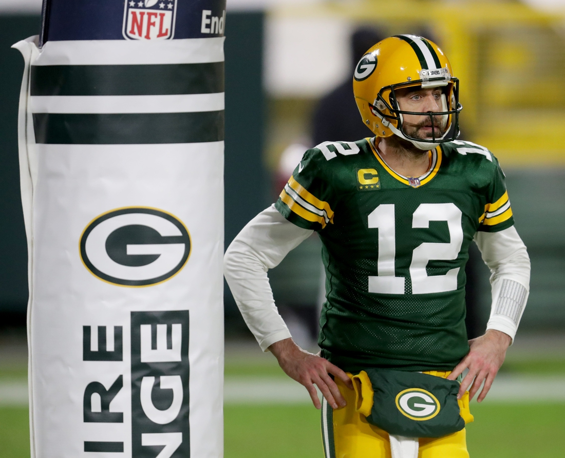 Green Bay Packers quarterback Aaron Rodgers (12) during the 3rd quarter of the Green Bay Packers 32-18 win over the Los Angeles Rams during the NFC divisional playoff game Saturday, Jan. 16, 2021, at Lambeau Field in Green Bay, Wis.  Packers Rams 04644