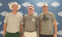 Left to right: Peyton Manning, Archie Manning and Eli Manning pose at the 24th Annual Manning Passing Academy on June 28, 2019.  Archie Manning Eli Peyton MPA 2019