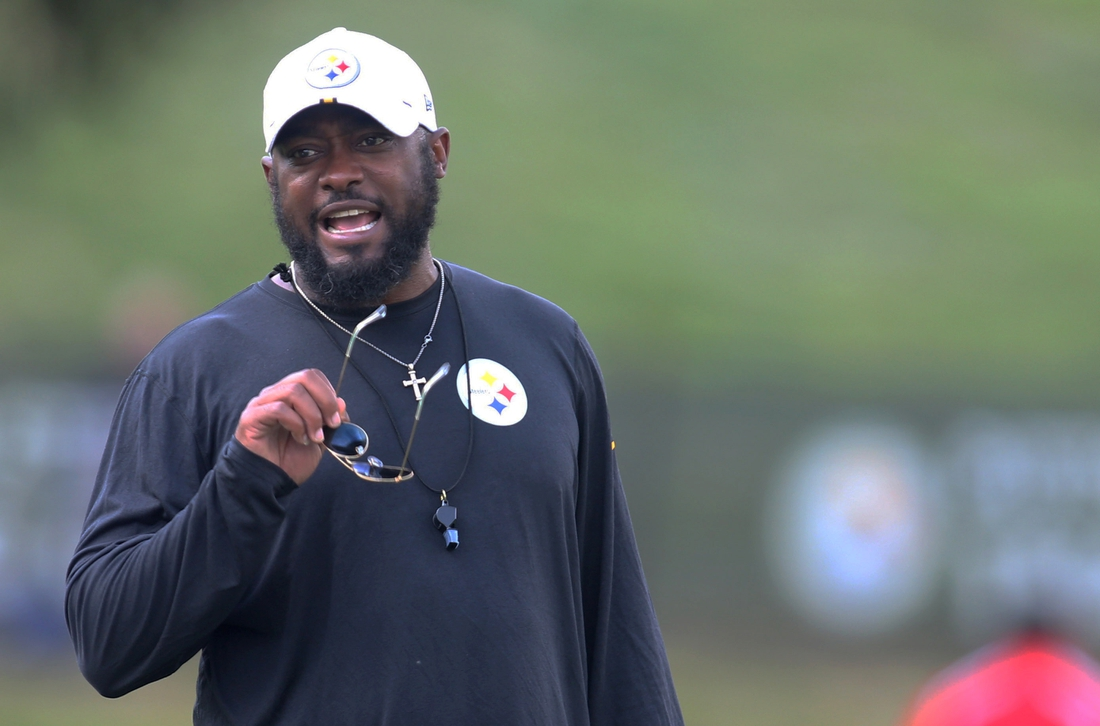 Jul 27, 2019; Latrobe, PA, USA; Pittsburgh Steelers head coach Mike Tomlin reacts during drills at training camp at Saint Vincent College. Mandatory Credit: Charles LeClaire-USA TODAY Sports